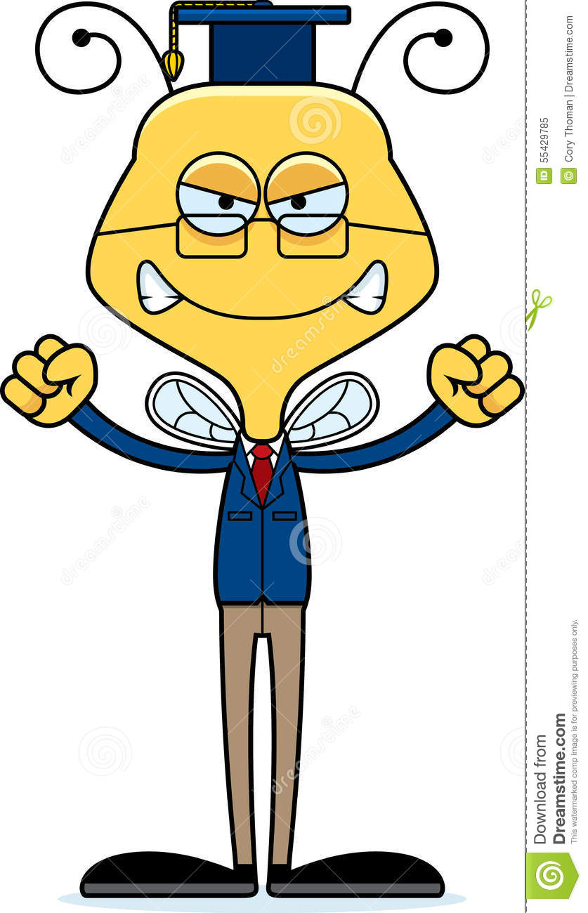 Cartoon Angry Teacher Bee Stock Vector - Image: 55429785