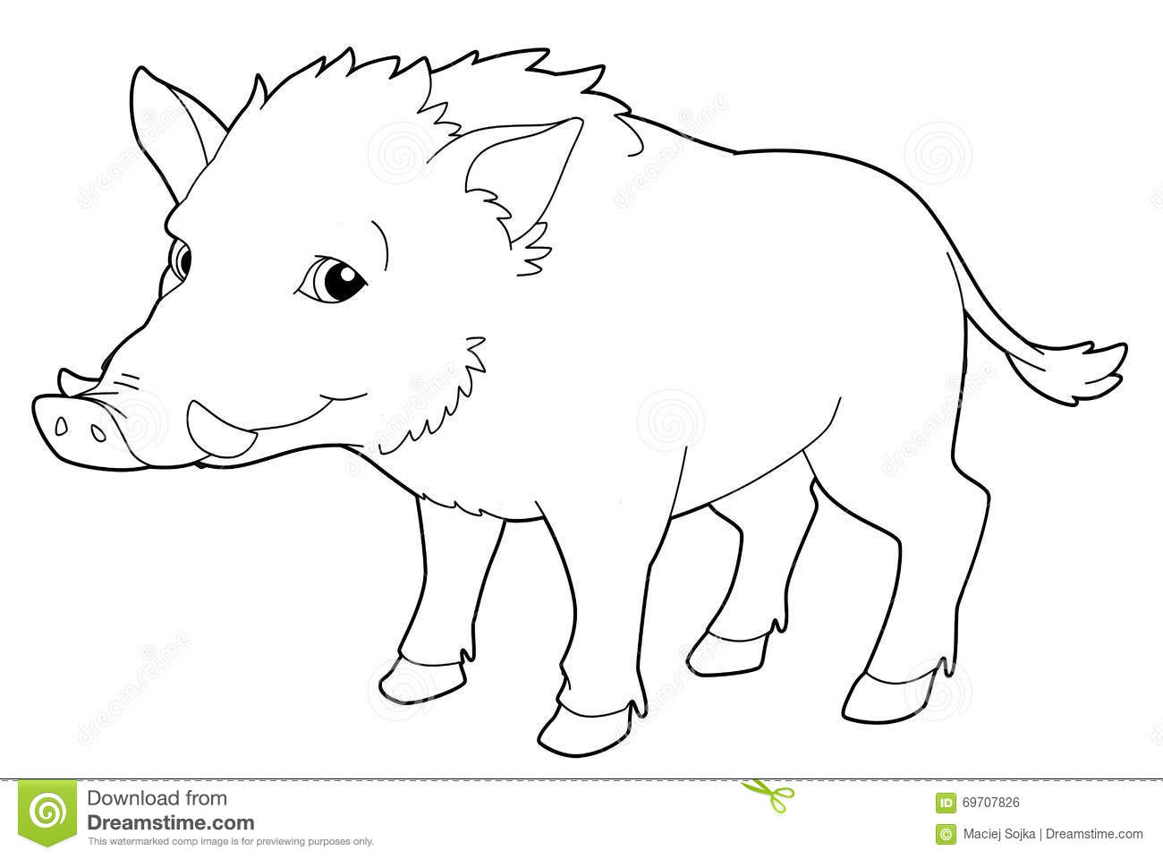 cartoon animal boar isolated coloring page illustration
