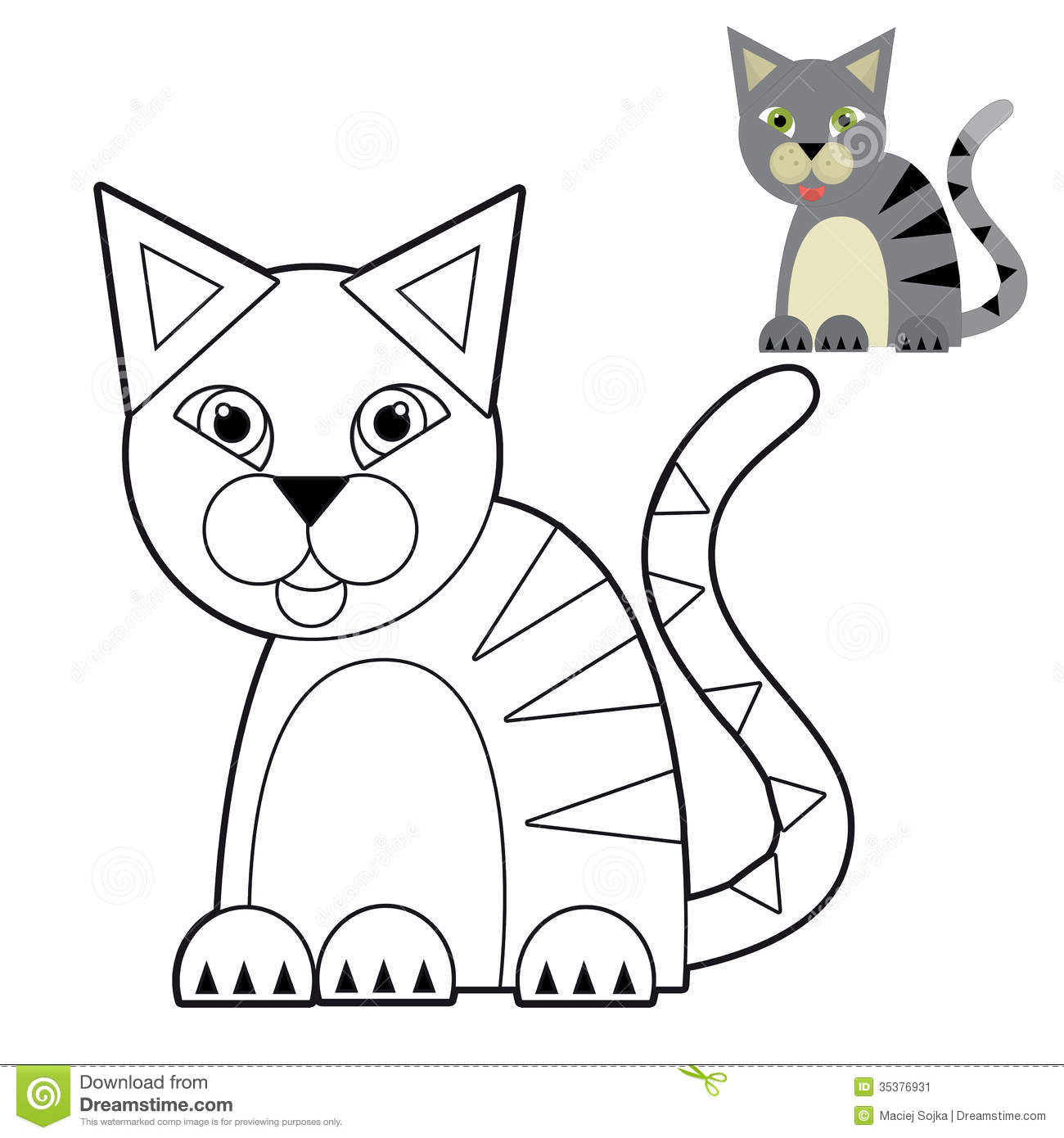 Cartoon Animal - Coloring Page - Illustration For The ...