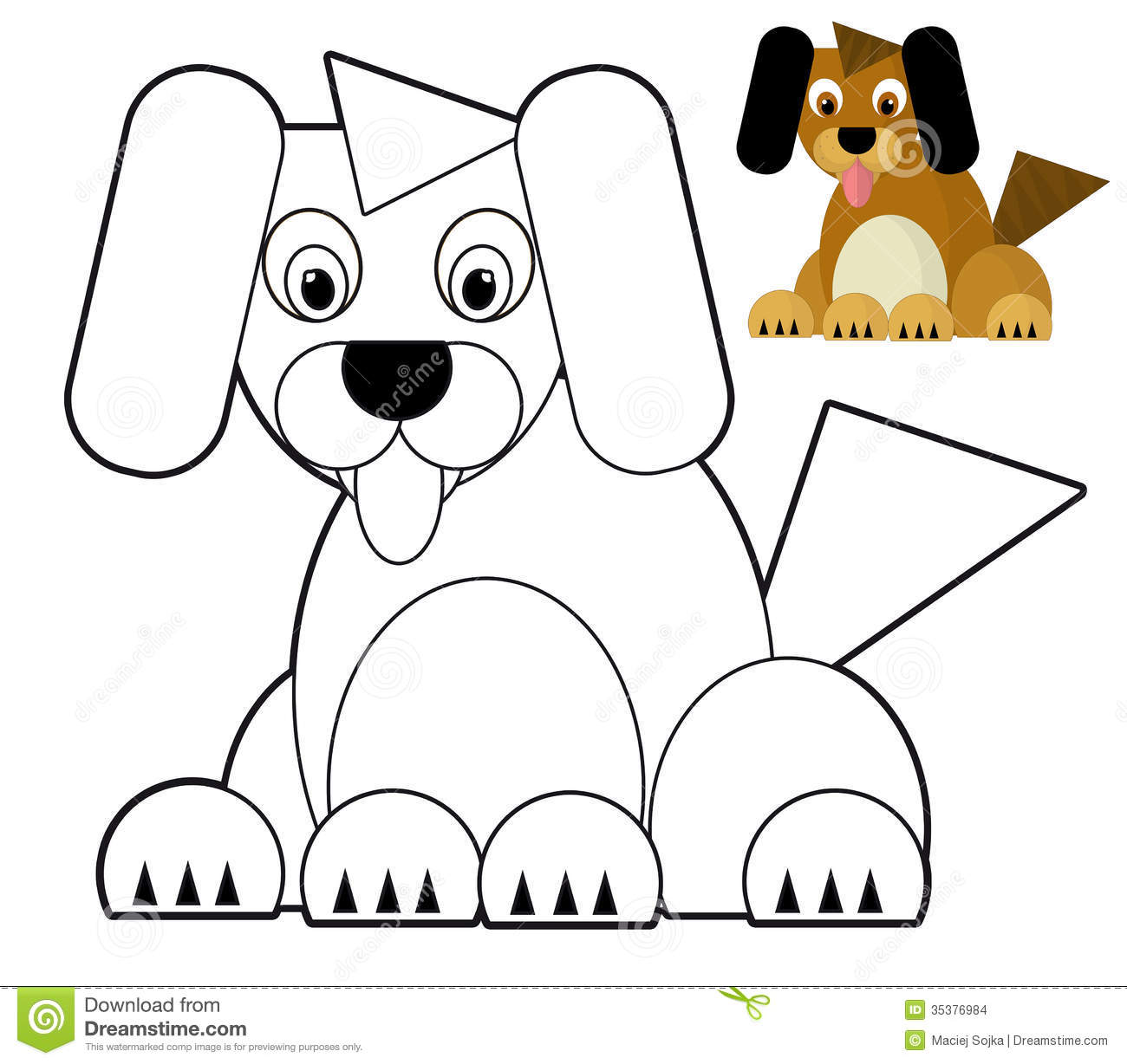 Cartoon Animal Coloring Page Illustration For The Children Stock