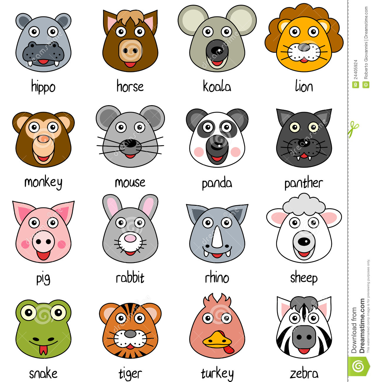 cartoon animal faces set 2 stock vector image 24405924
