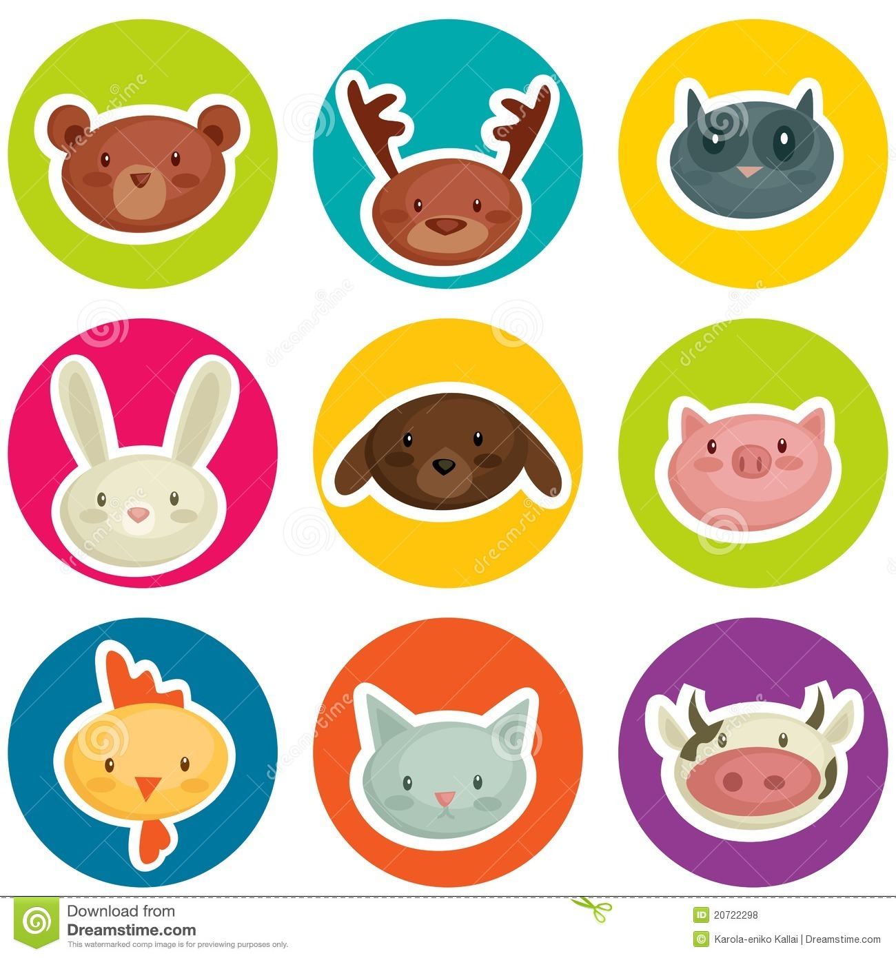 cartoon animal stickers in - photo #31