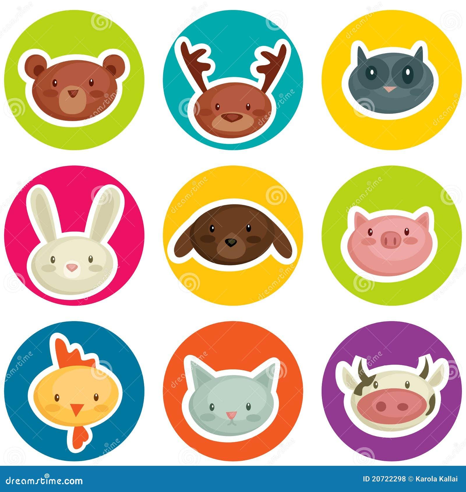 Cartoon Animal Head Stickers Royalty Free Stock Photos