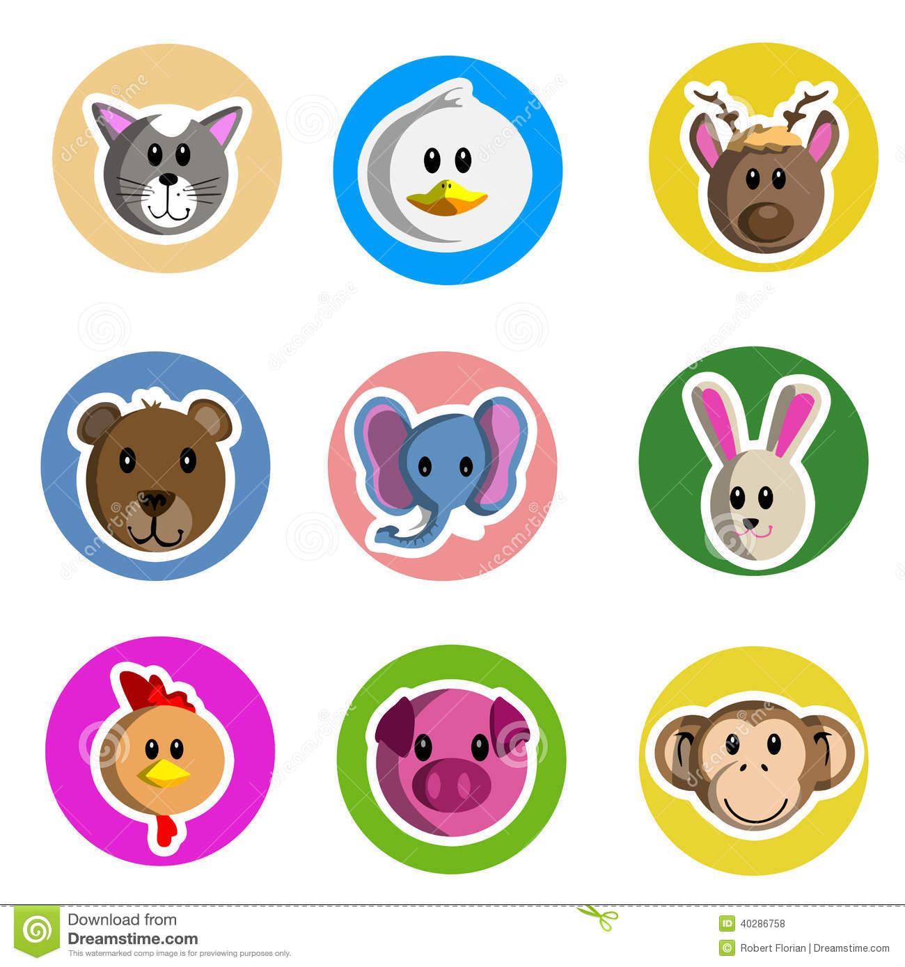 cartoon animal stickers in - photo #35