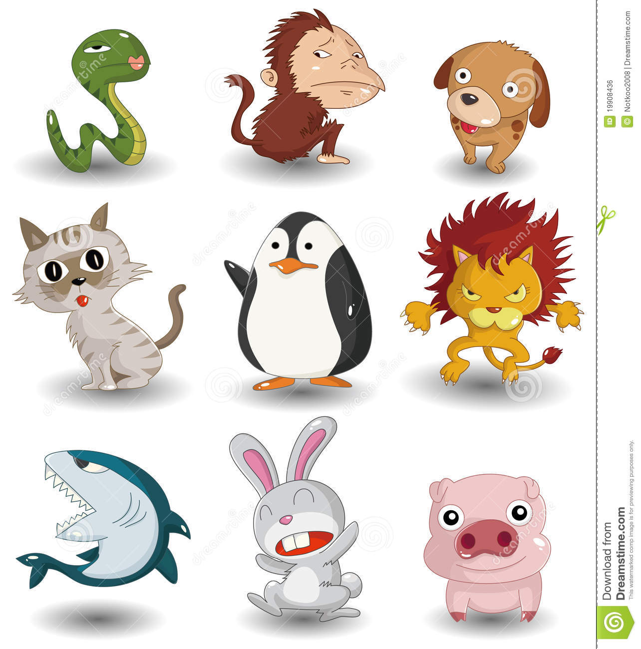 Cartoon Animal Icon Set Royalty Free Stock Image - Image: 19908436
