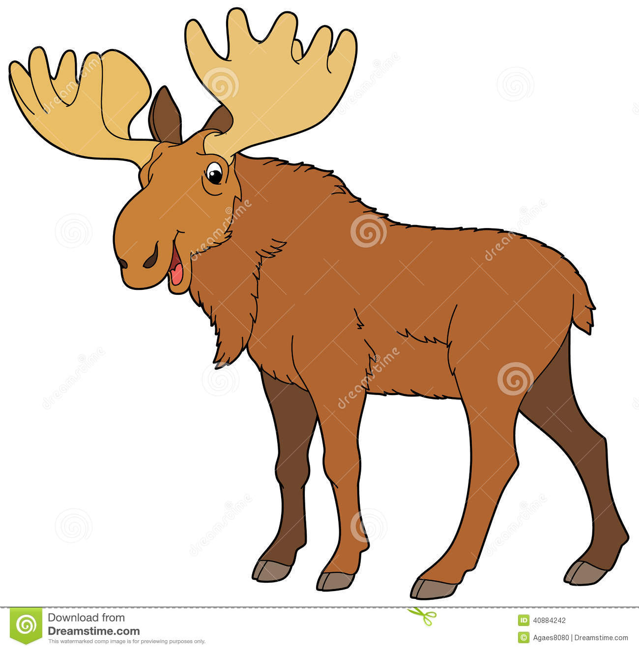 ... Illustration: Cartoon animal - moose - illustration for the children