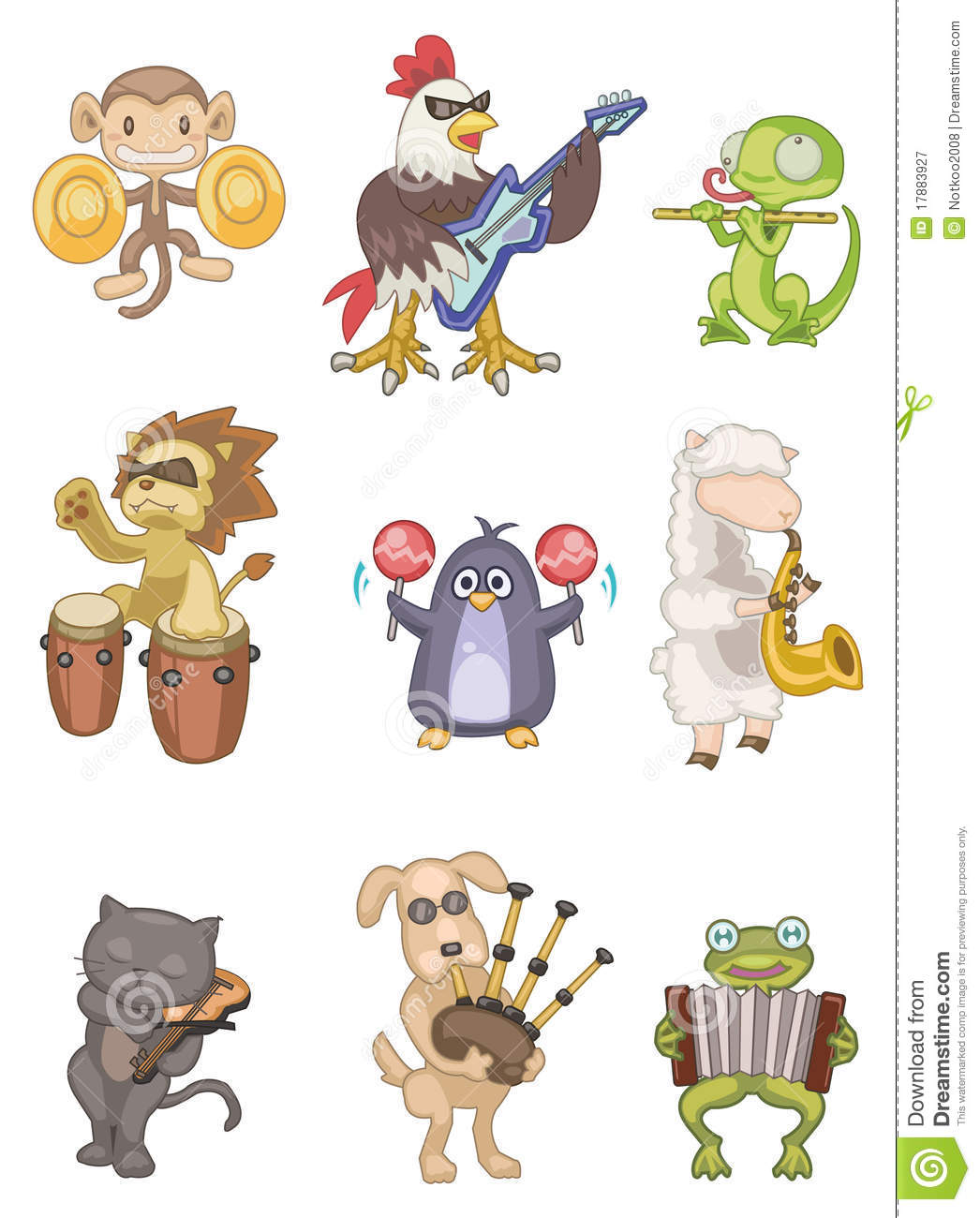 Cartoon Animal Play Music Icon Royalty Free Stock Photography - Image ...