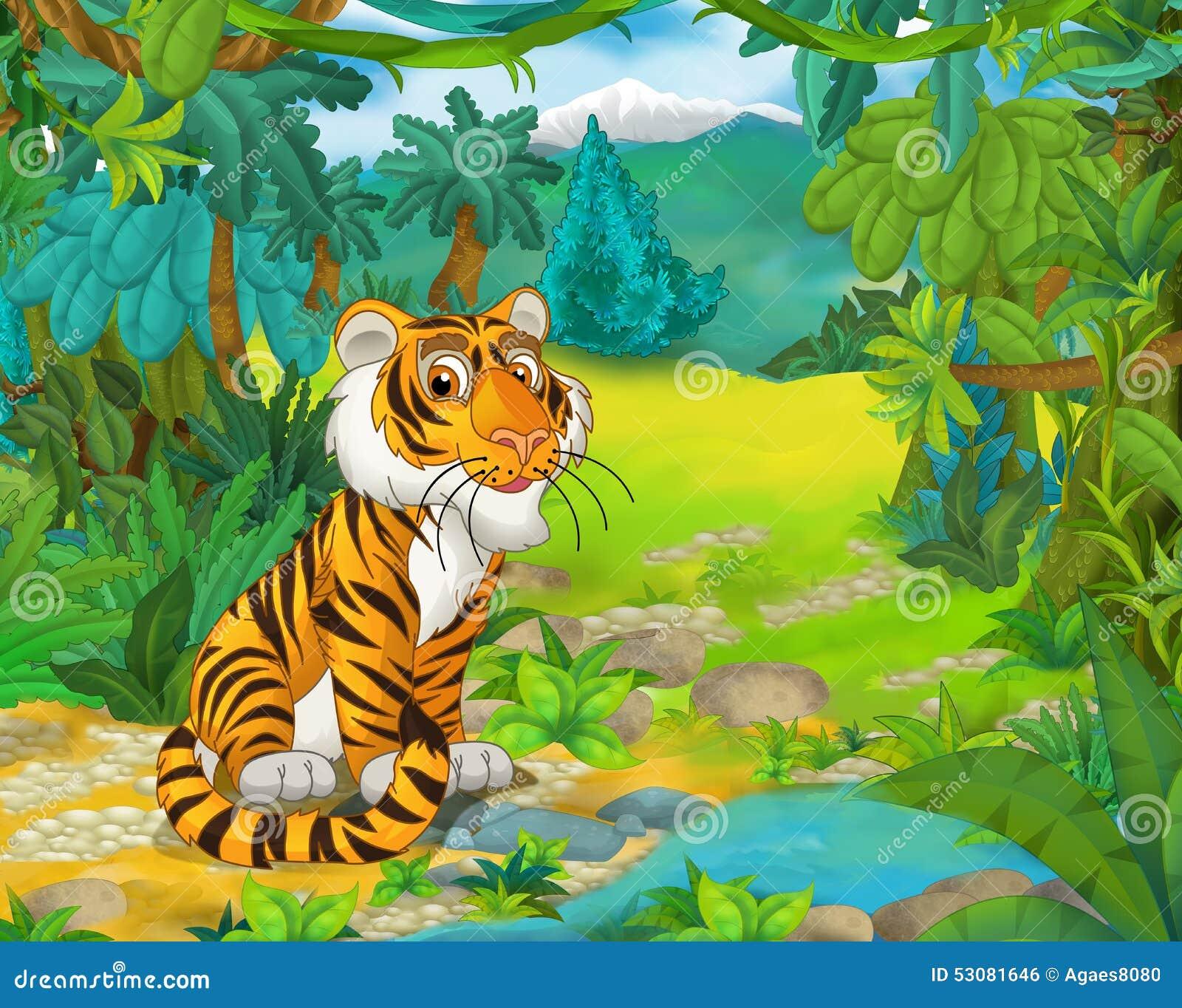 Cartoon animal scene - caricature - tiger