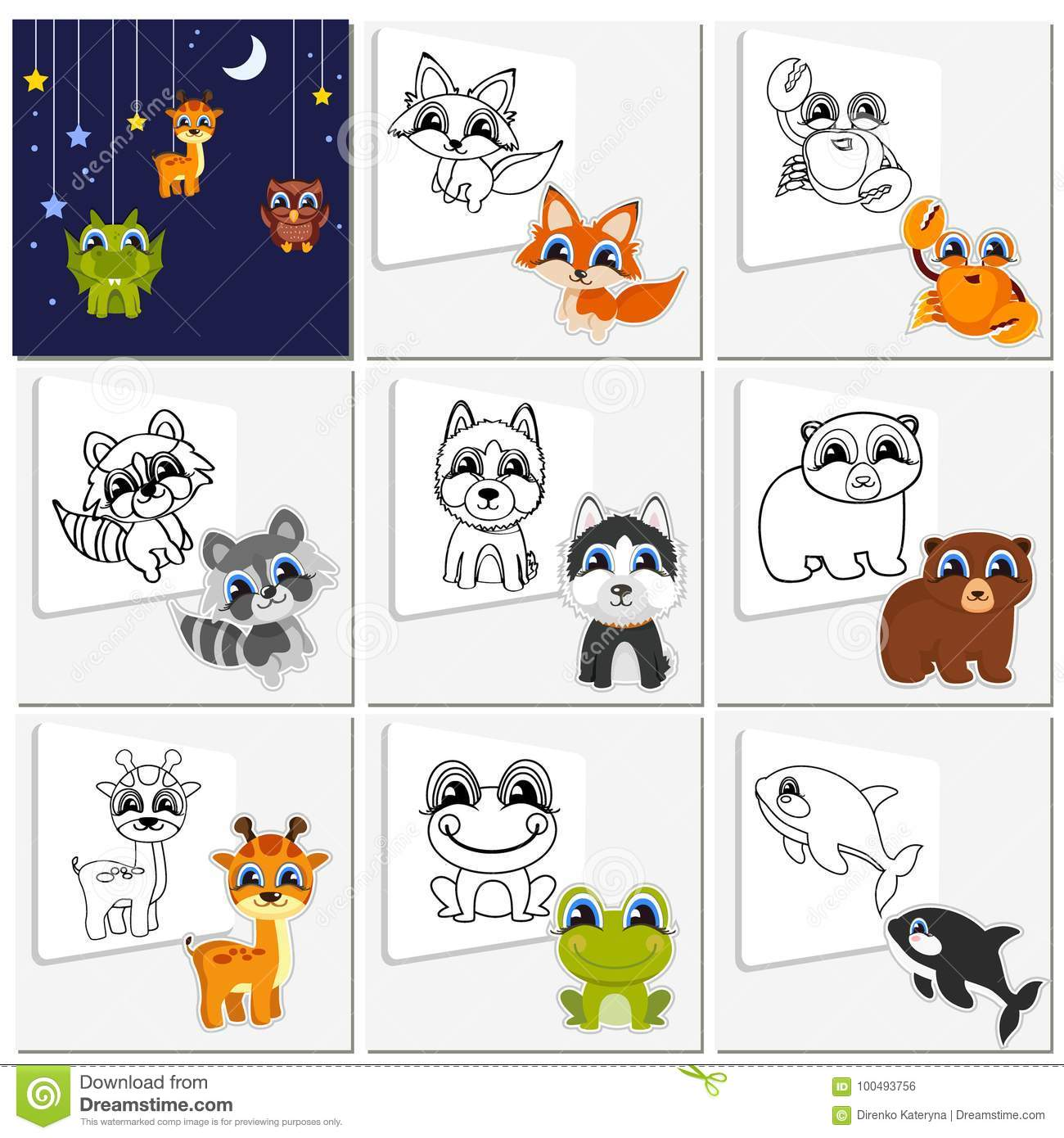Royalty Free Vector Download Cartoon Animal Set Childish Collection Cute Animals That Need To Be Painted Coloring