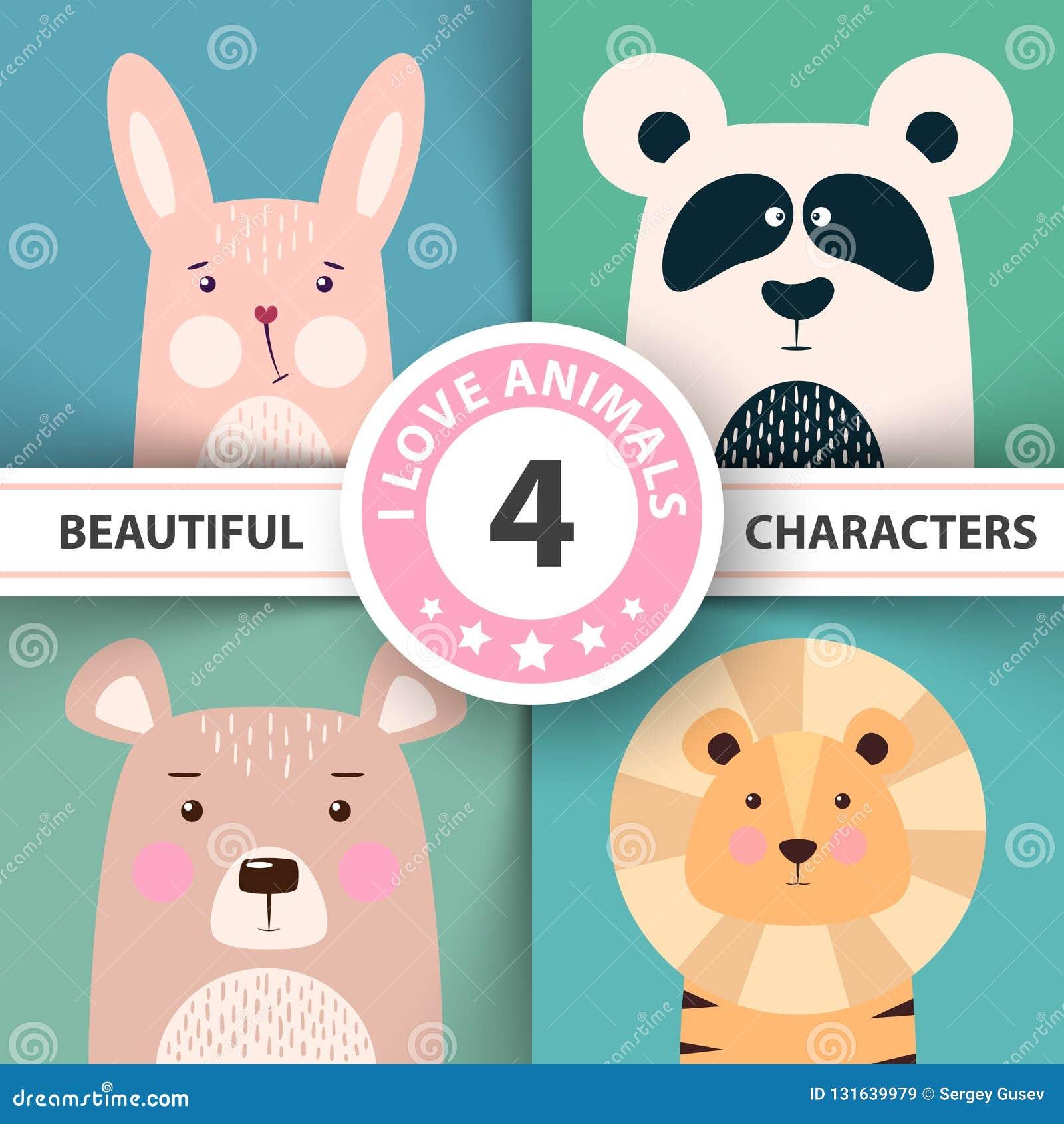 Cartoon animal set rabbit, panda, bear, lion.