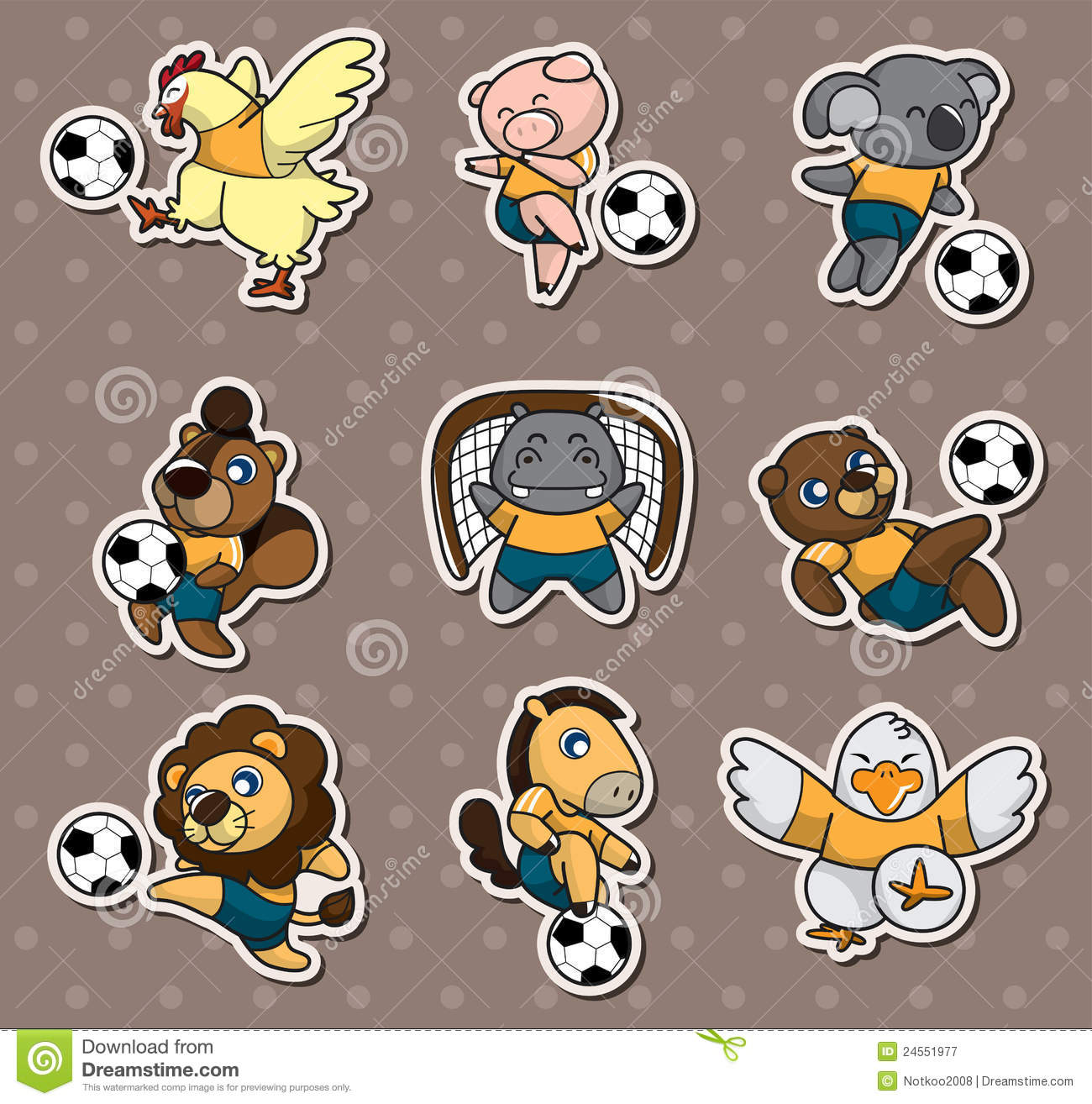 Cartoon Animal Soccer Player Stickers Royalty Free Stock