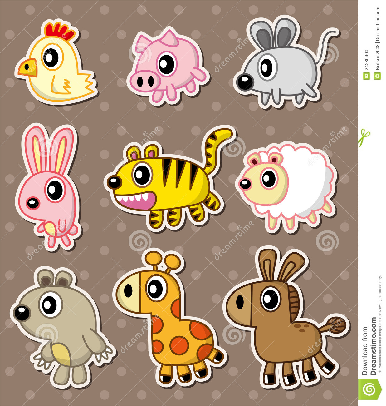cartoon animal stickers in - photo #4