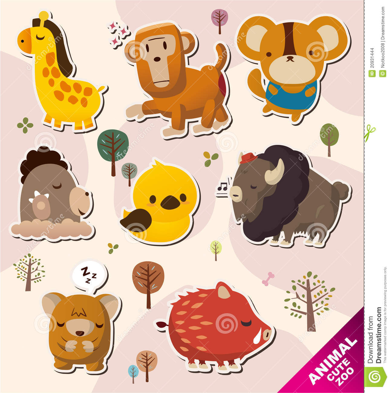 cartoon animal stickers in - photo #11