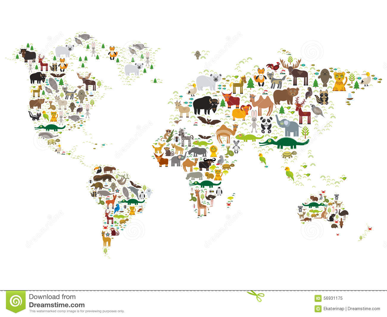cartoon animal world map for children and kids animals from all over the world on