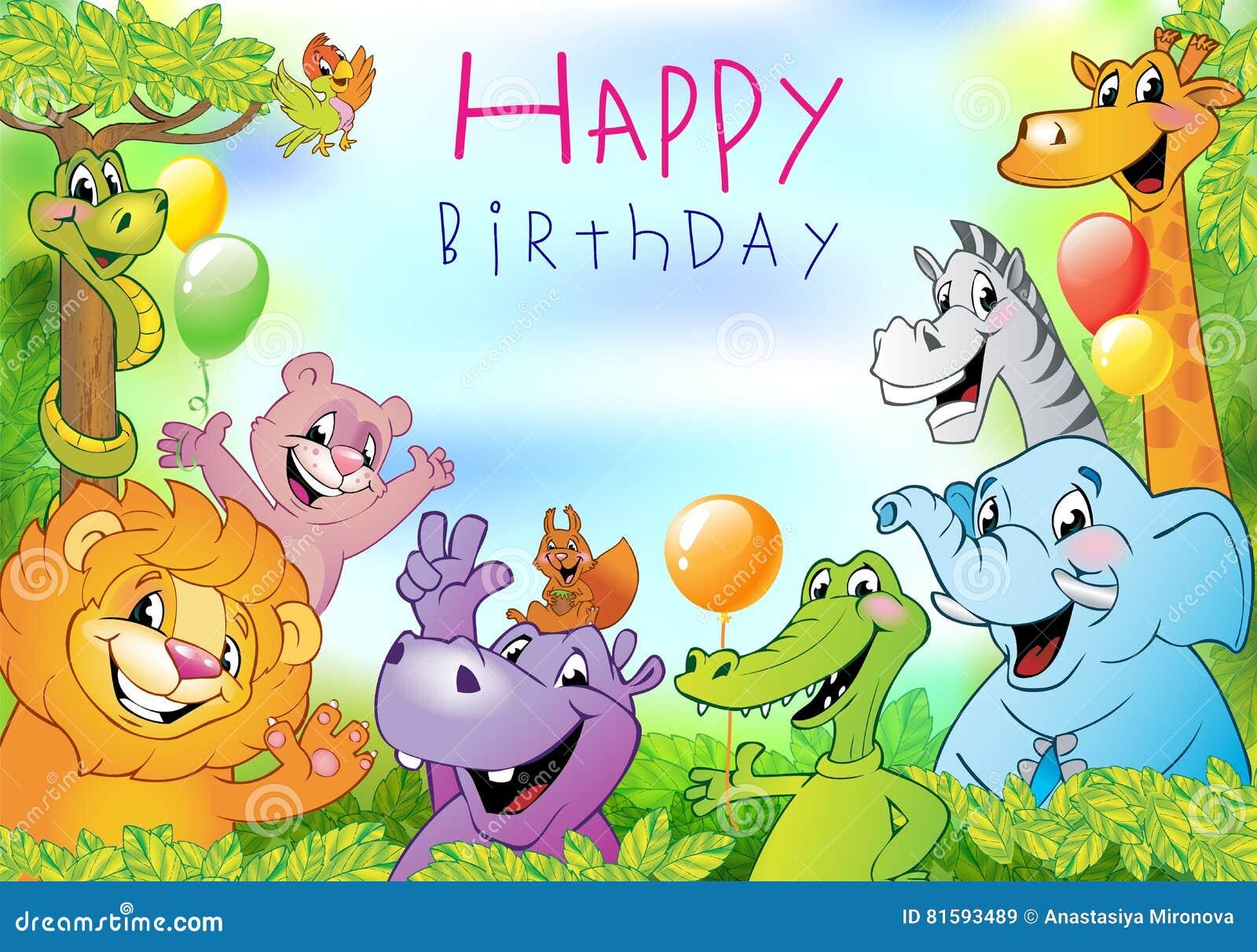 Cartoon Animals Birthday Greeting Card Stock Vector Illustration