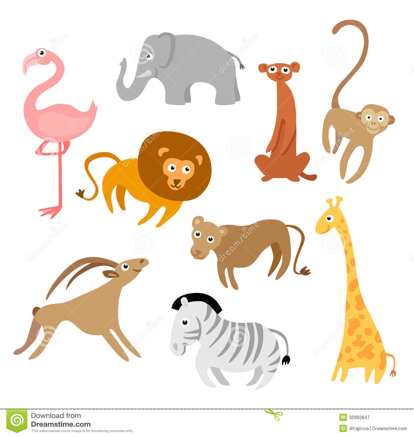 cartoon animals stock vector illustration of elephant 32992847