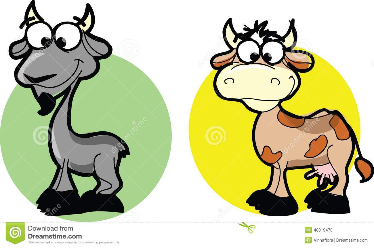 Cartoon Animals Goat And Cow Vector Stock Vector Image