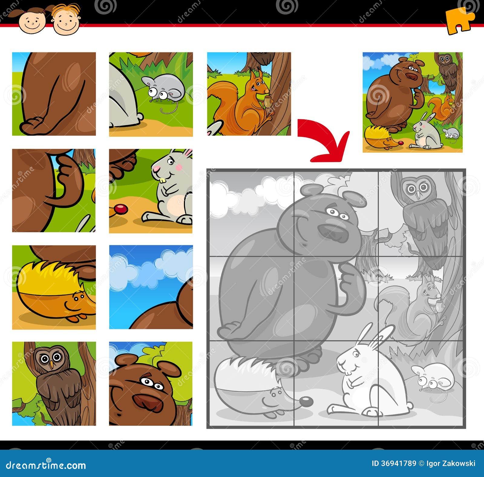 Cartoon Animals Jigsaw Puzzle Game Royalty Free Stock