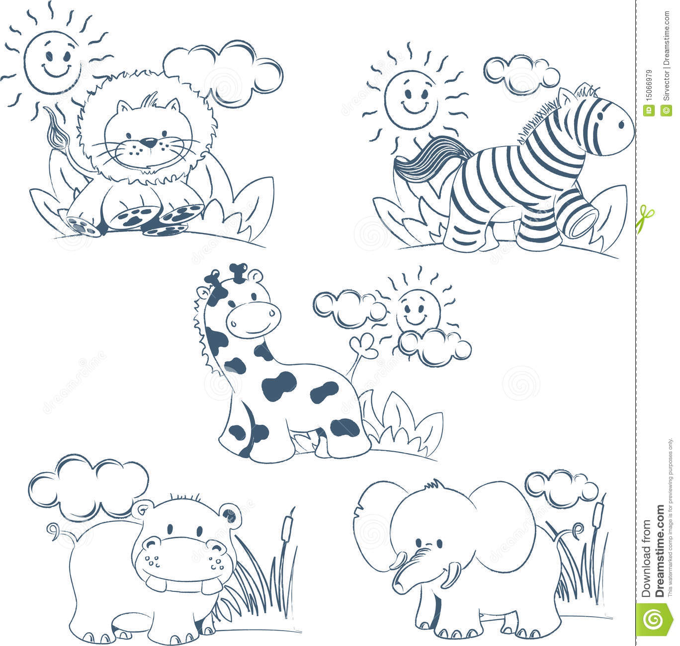 Cartoon Animals Jungle Set Outline Royalty Free Stock ...
