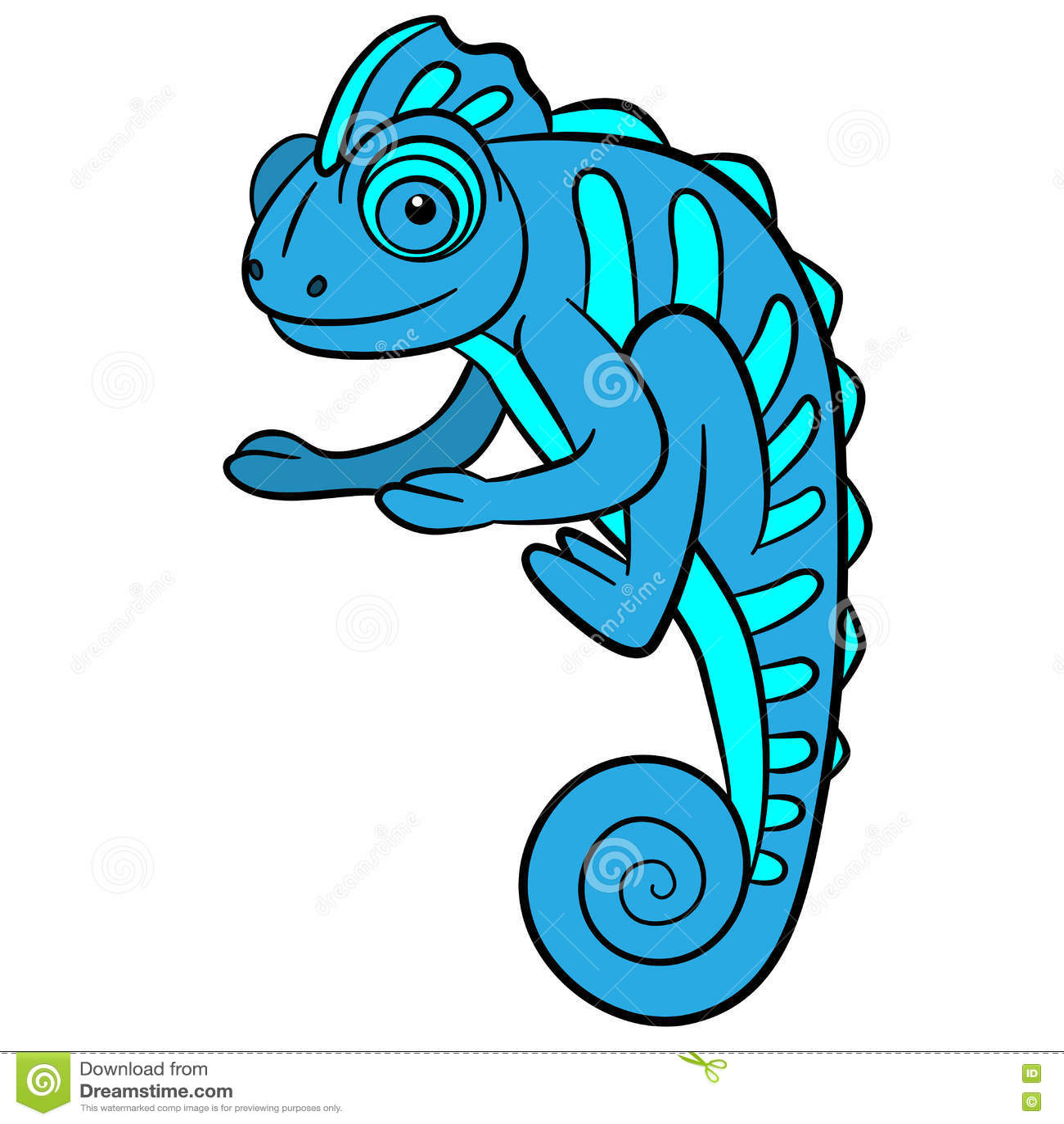 Cartoon Cute Chameleon Vector Illustration
