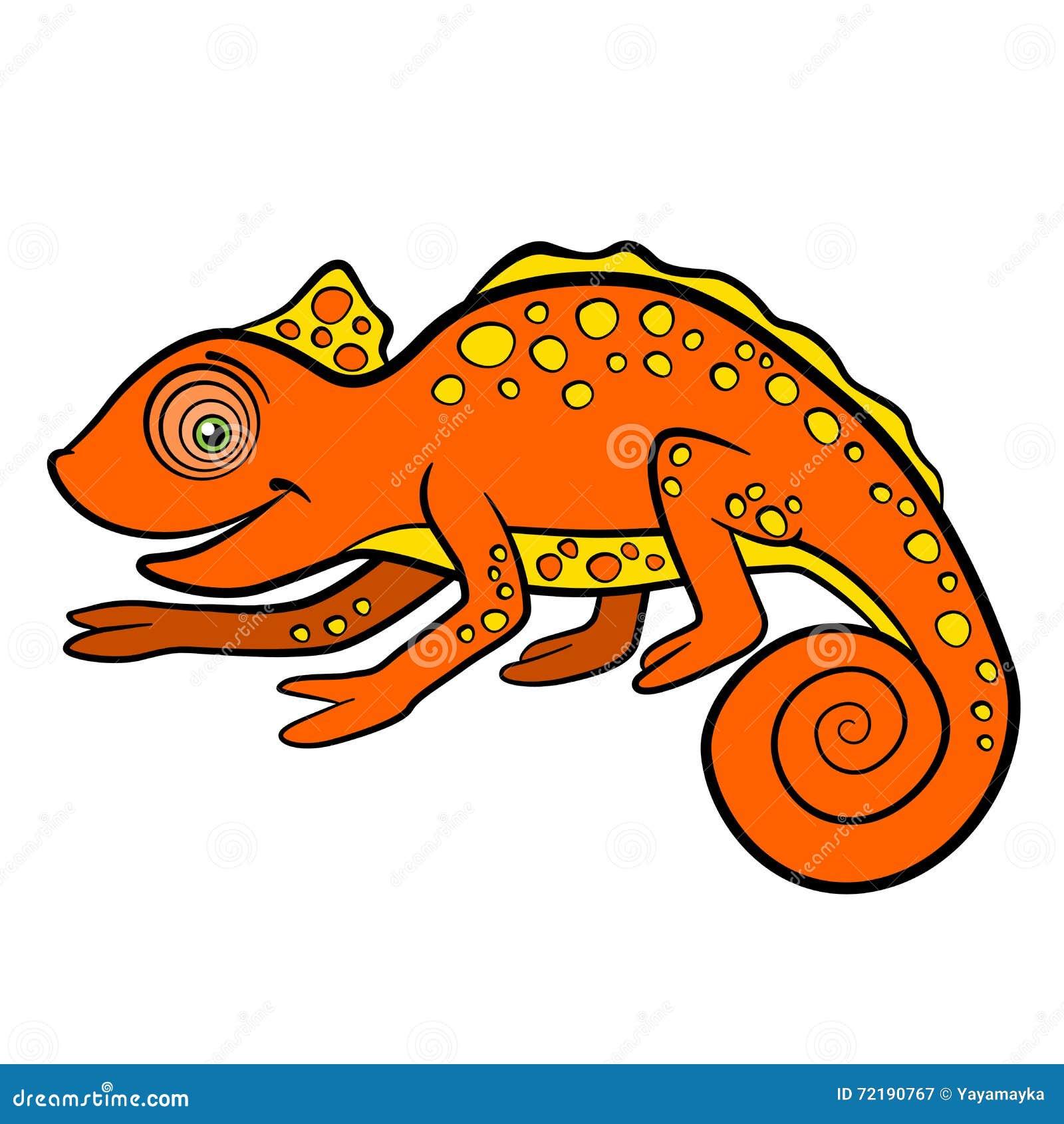 cartoon animals for kids little cute orange chameleon stock