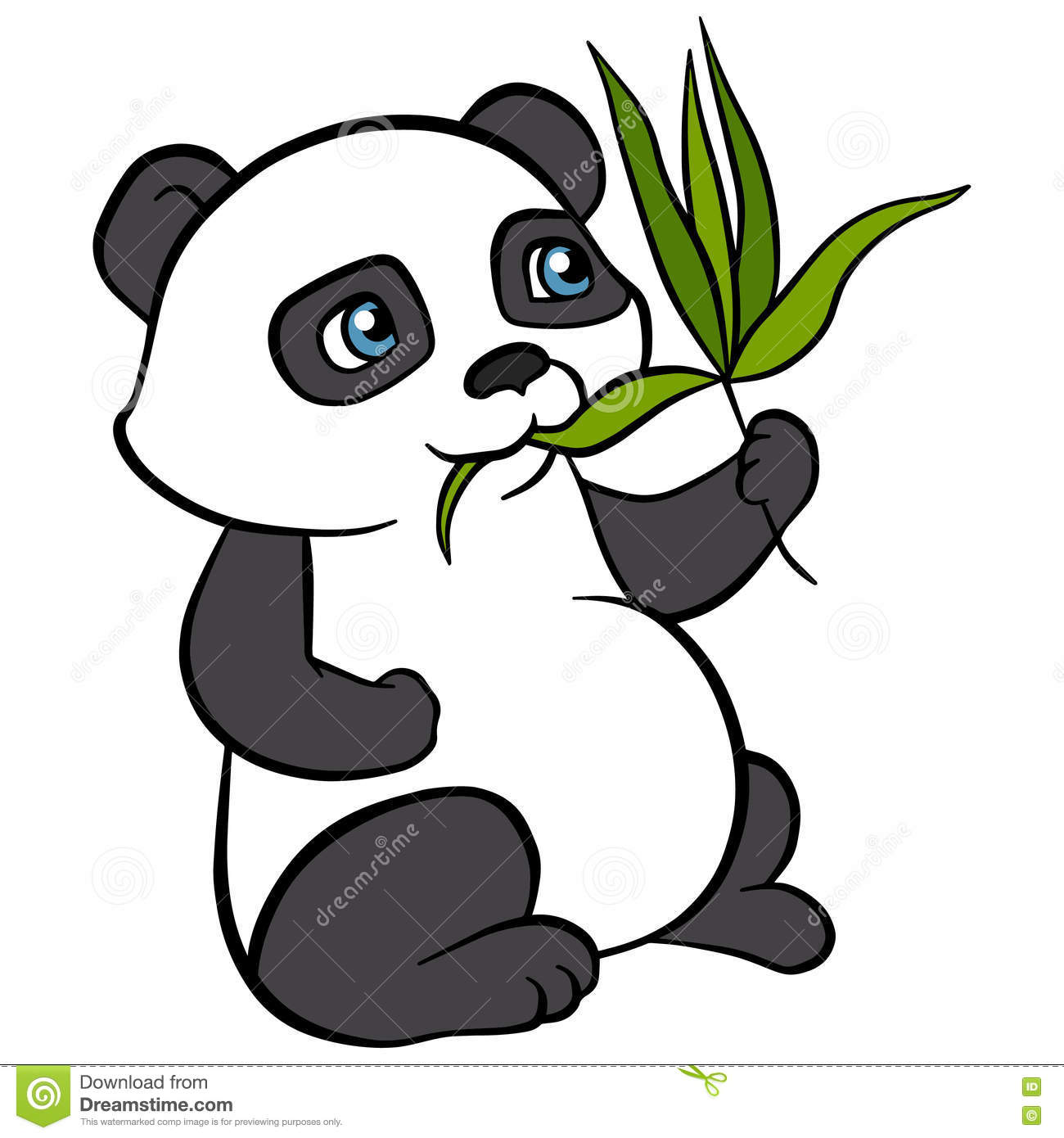 cartoon animals for kids little cute panda eat leaves Cute Animal Clip Art Black and White Cute Animal Drawings