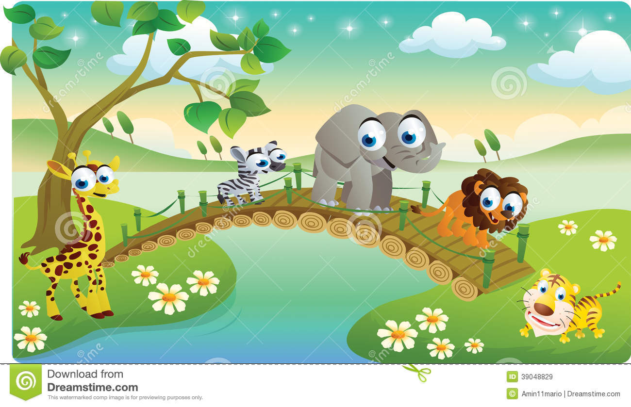 Download Cartoon Animals Playing With Beautiful Scenery Stock Illustration