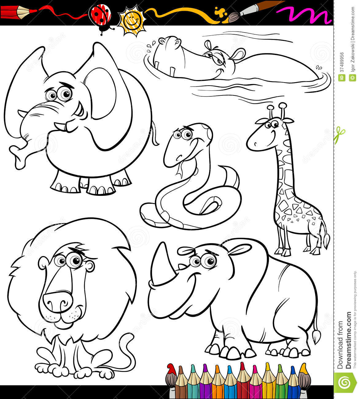 Animals Black Book Cartoon Children Coloring Illustration Page Set White Wild