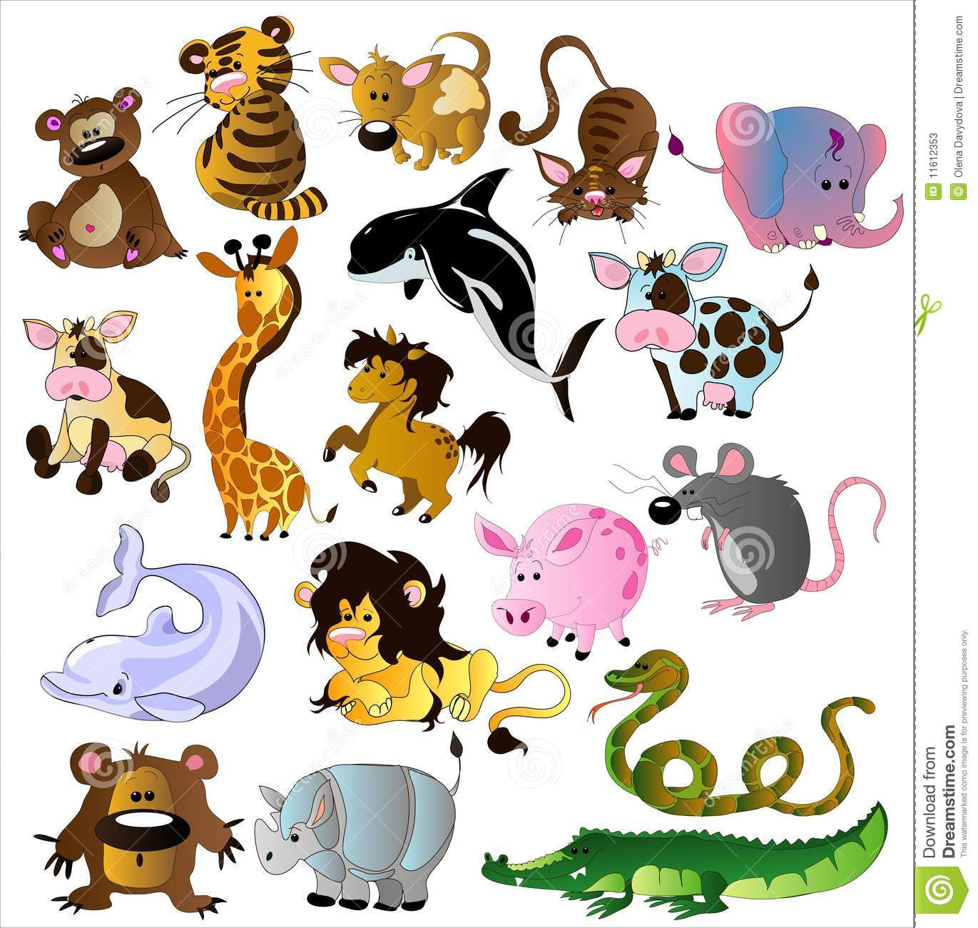 Cartoon Animals Vector Stock Photos - Image: 11612353
