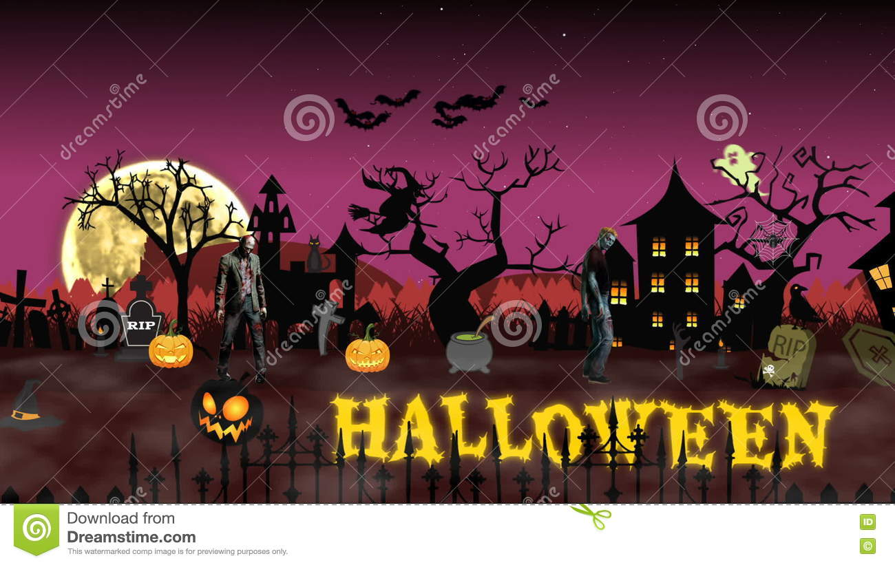 cartoon animation halloween scene with animated text halloween