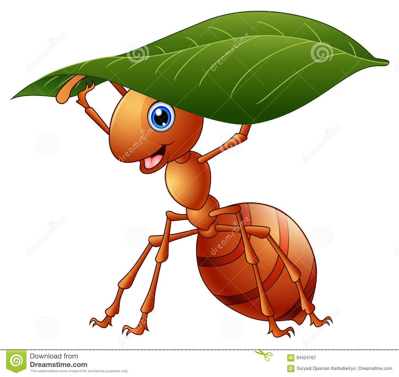Cartoon Ant Holding A Green Leaf Stock Vector