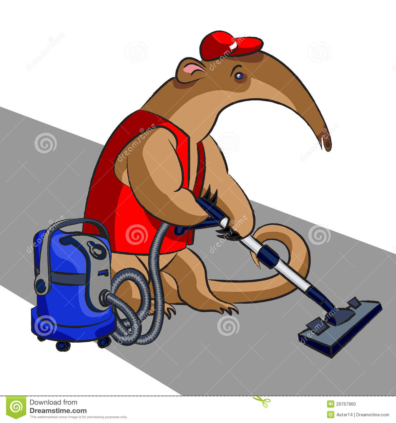 Anteater and vacuum cleaner stock illustration image for Cartoon carpet