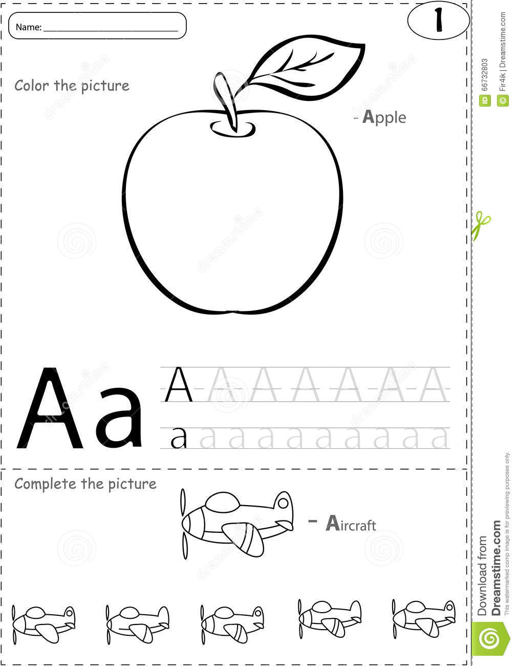 Cartoon Apple And Aircraft. Alphabet Tracing Worksheet: Writing Stock Vector - Image: 66732803