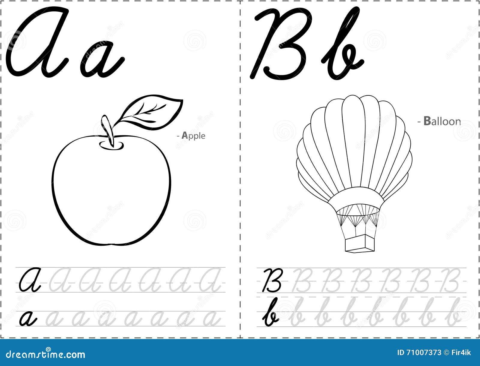 cartoon apple and balloon  alphabet tracing worksheet  writing a stock vector