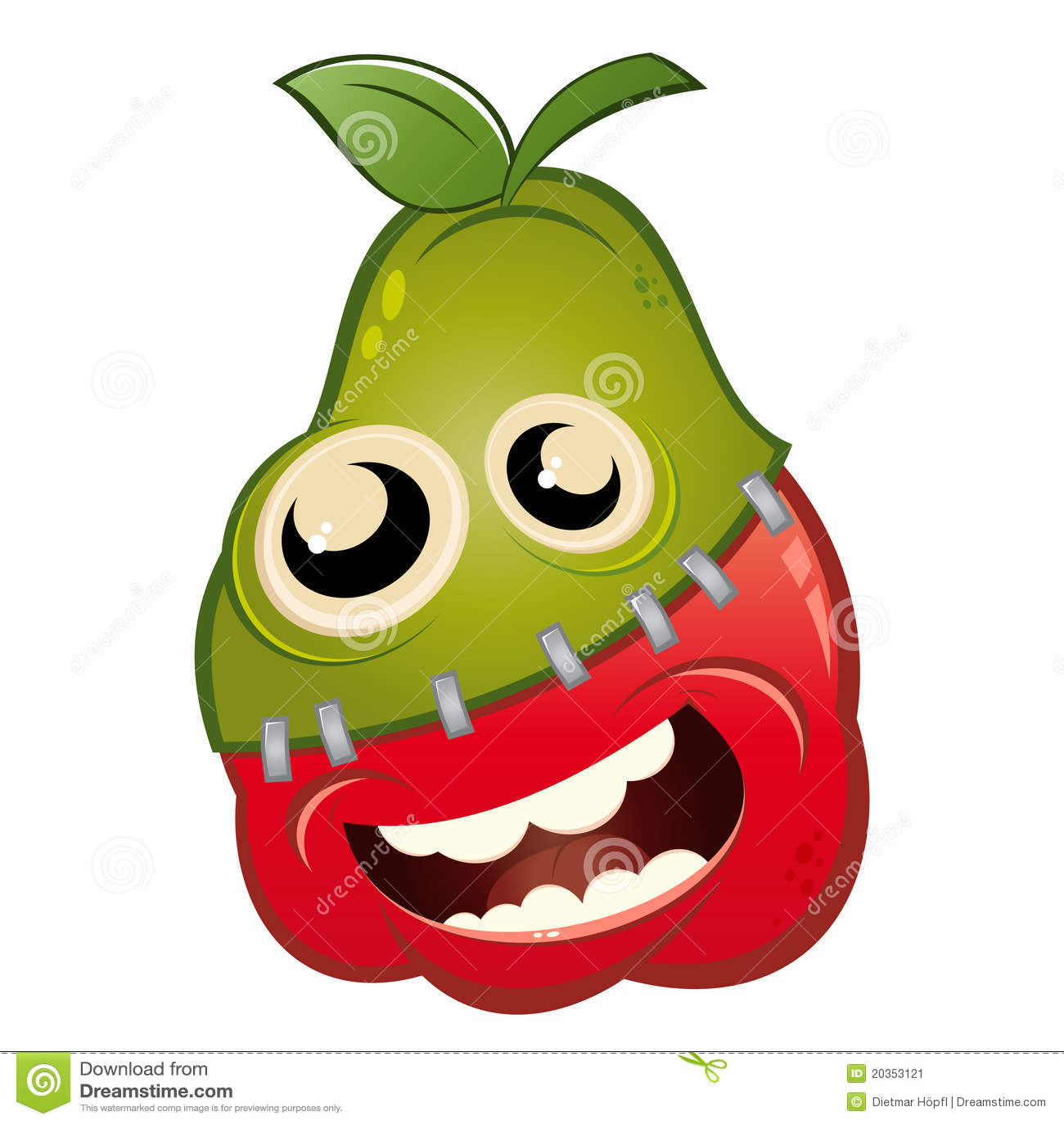 Cartoon apple and pear fruit