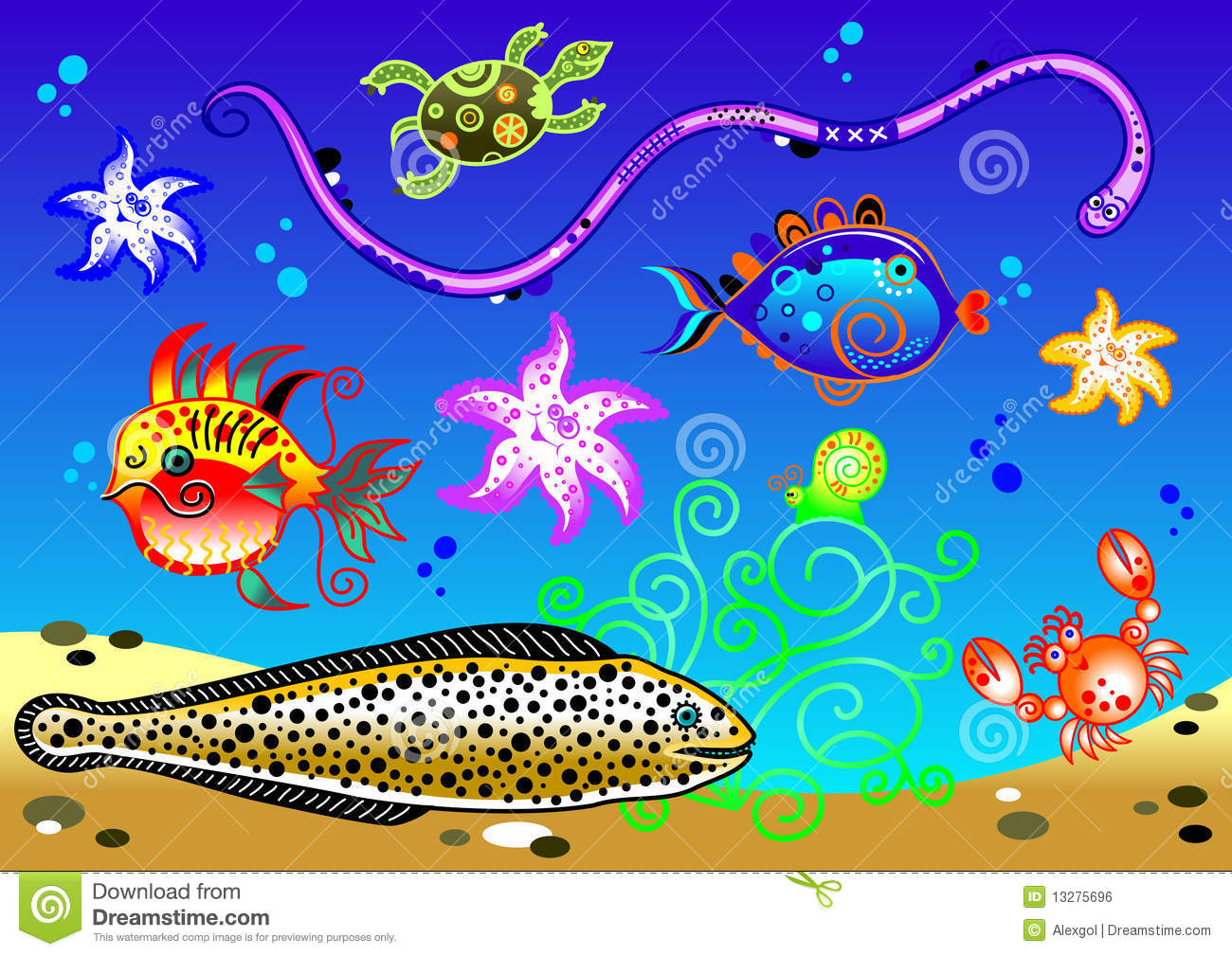 Cartoon aquarium. Available ai-10 vector format separated by groups ...