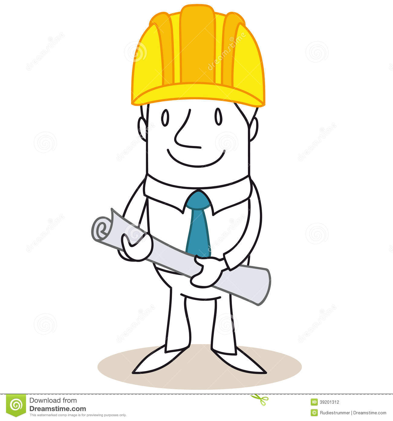Cartoon architect construction manager holding plans stock - Table de dessin architecte ...