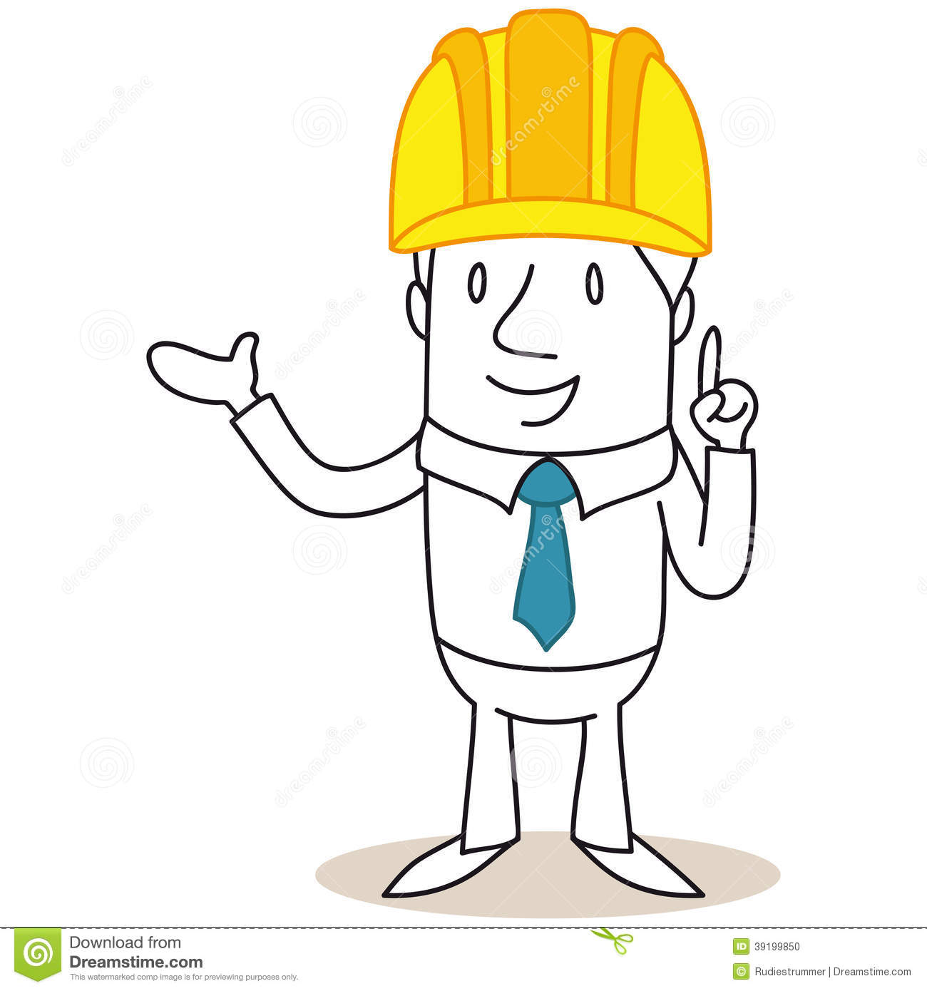 Construction Manager Cartoon : Cartoon architect construction manager pointing and