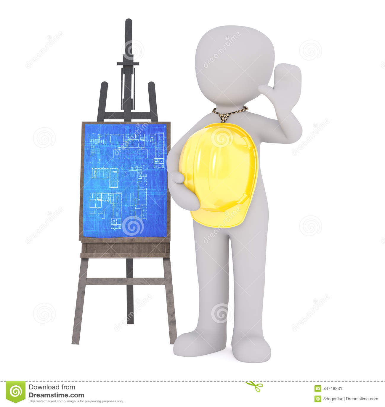 Cartoon Architect With Hard Hat Beside Blueprints Stock