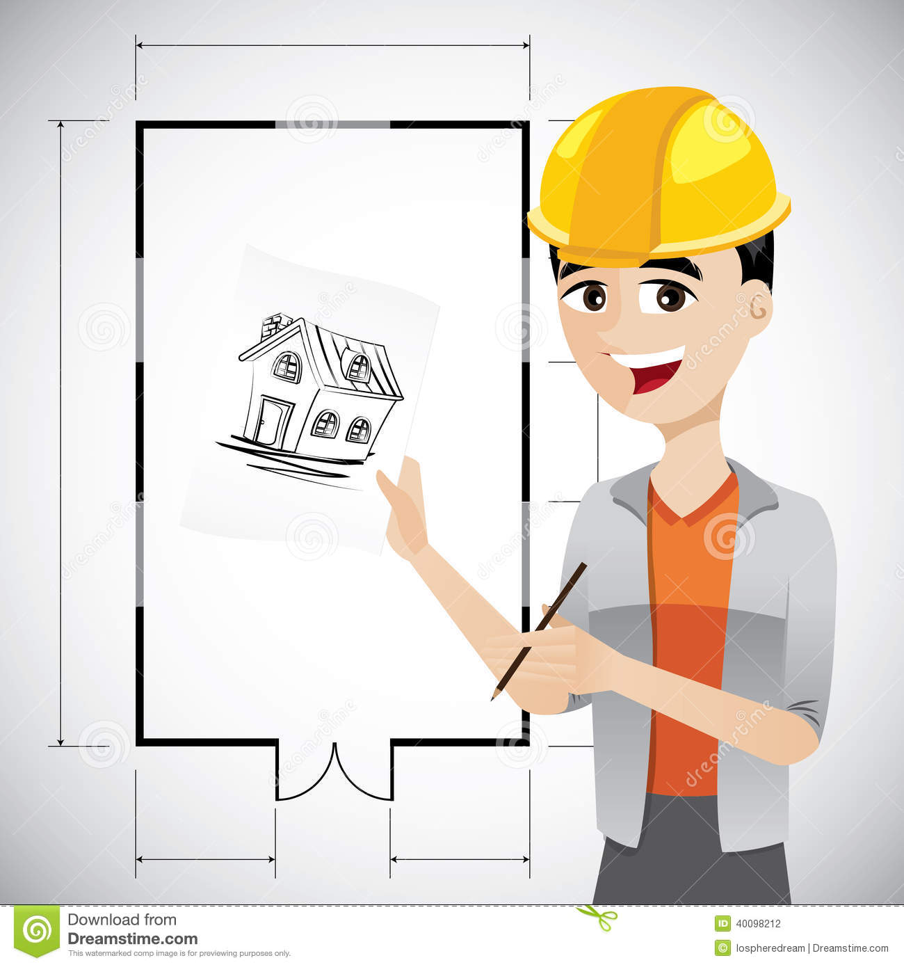 cartoon architect sketching house illustration floor plan background 40098212