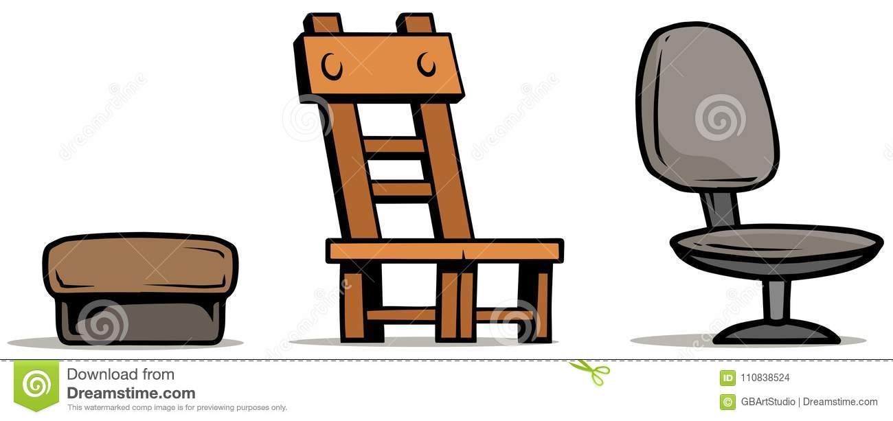 Cartoon Armchairs And Wooden Chair. Office And Bar Furniture. Vector Icon  Set.