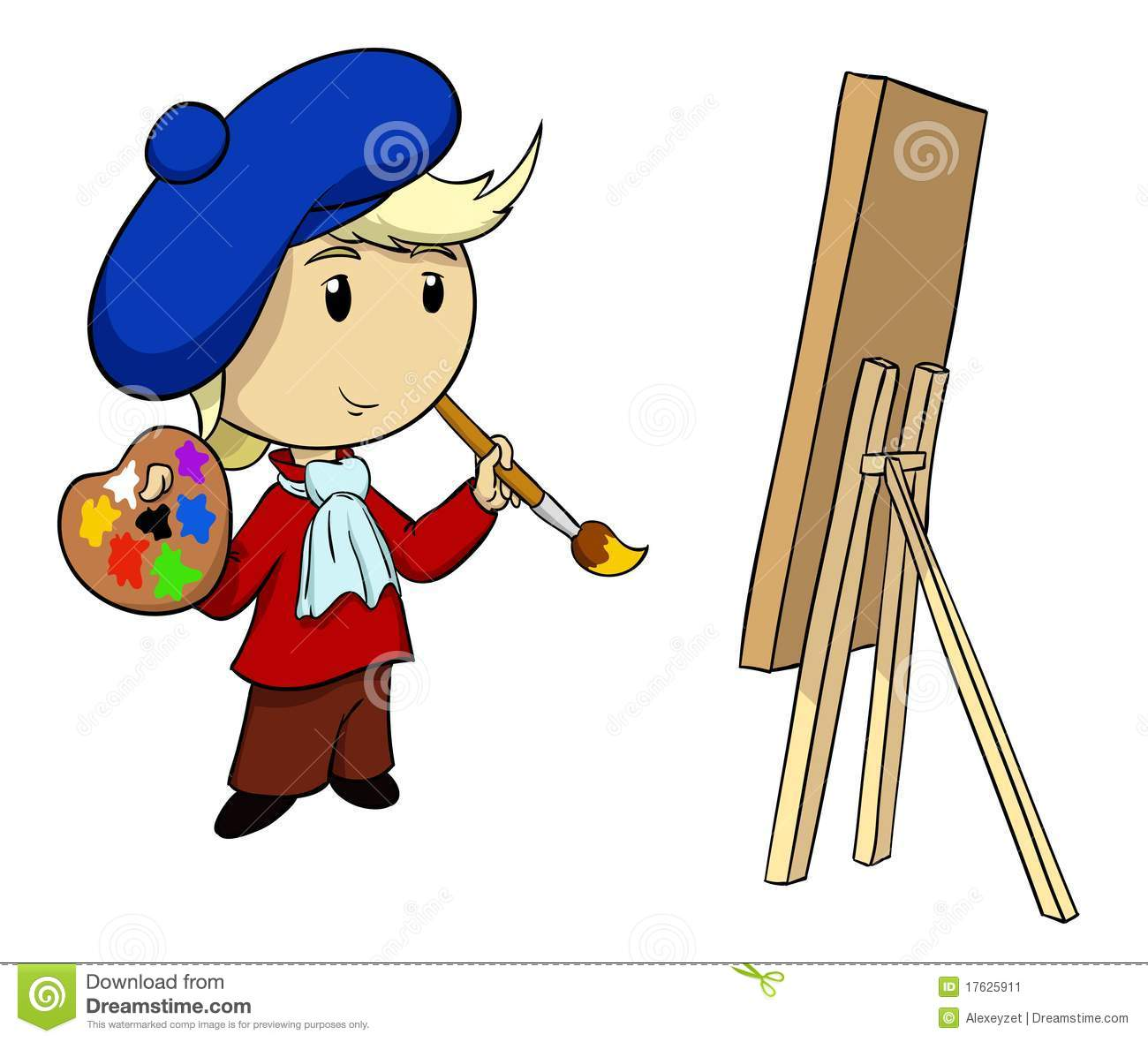 Vector illustration. Cartoon artist in beret with palette and brush.
