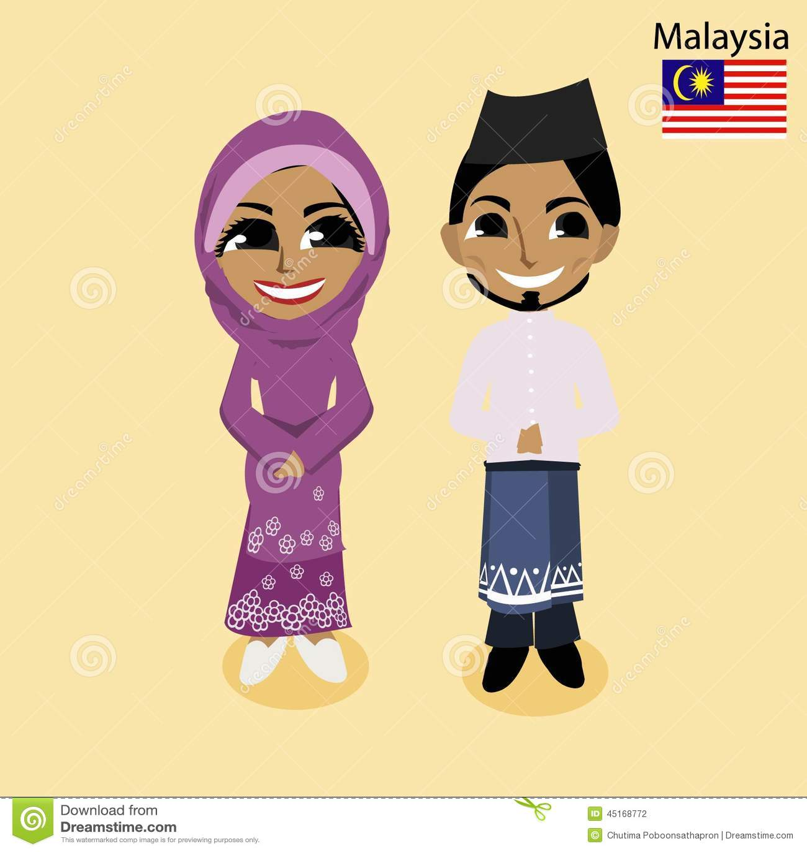 Malaysian People Clipart Cartoon ASEAN Malaysia Stock