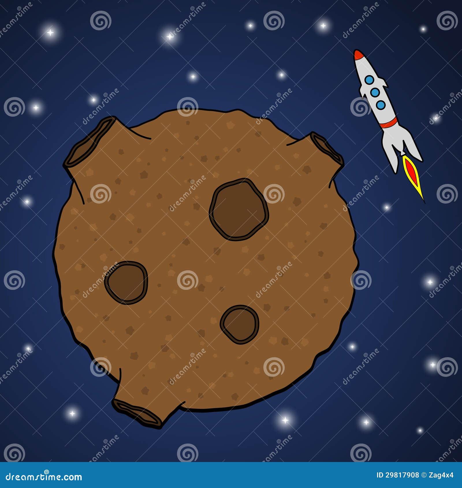 Asteroid and rocket stock illustration. Illustration of ...