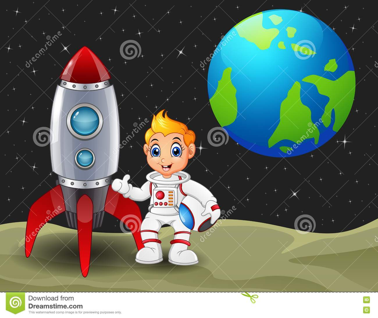 Cartoon Astronaut Boy Holding A Helmet And Rocket Space Ship On The Moon With Planet Earth In Background