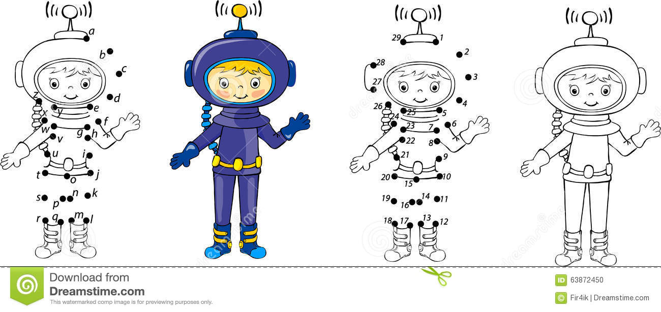 Cartoon Astronaut. Vector Illustration. Coloring And Dot