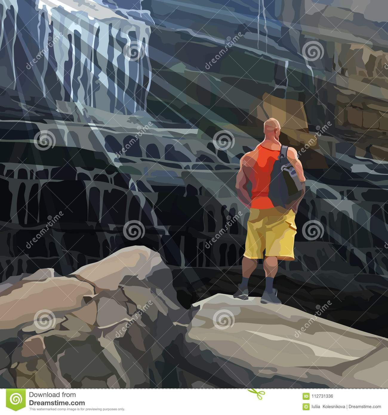 Cartoon athletic man stands on a rock beside a huge waterfall
