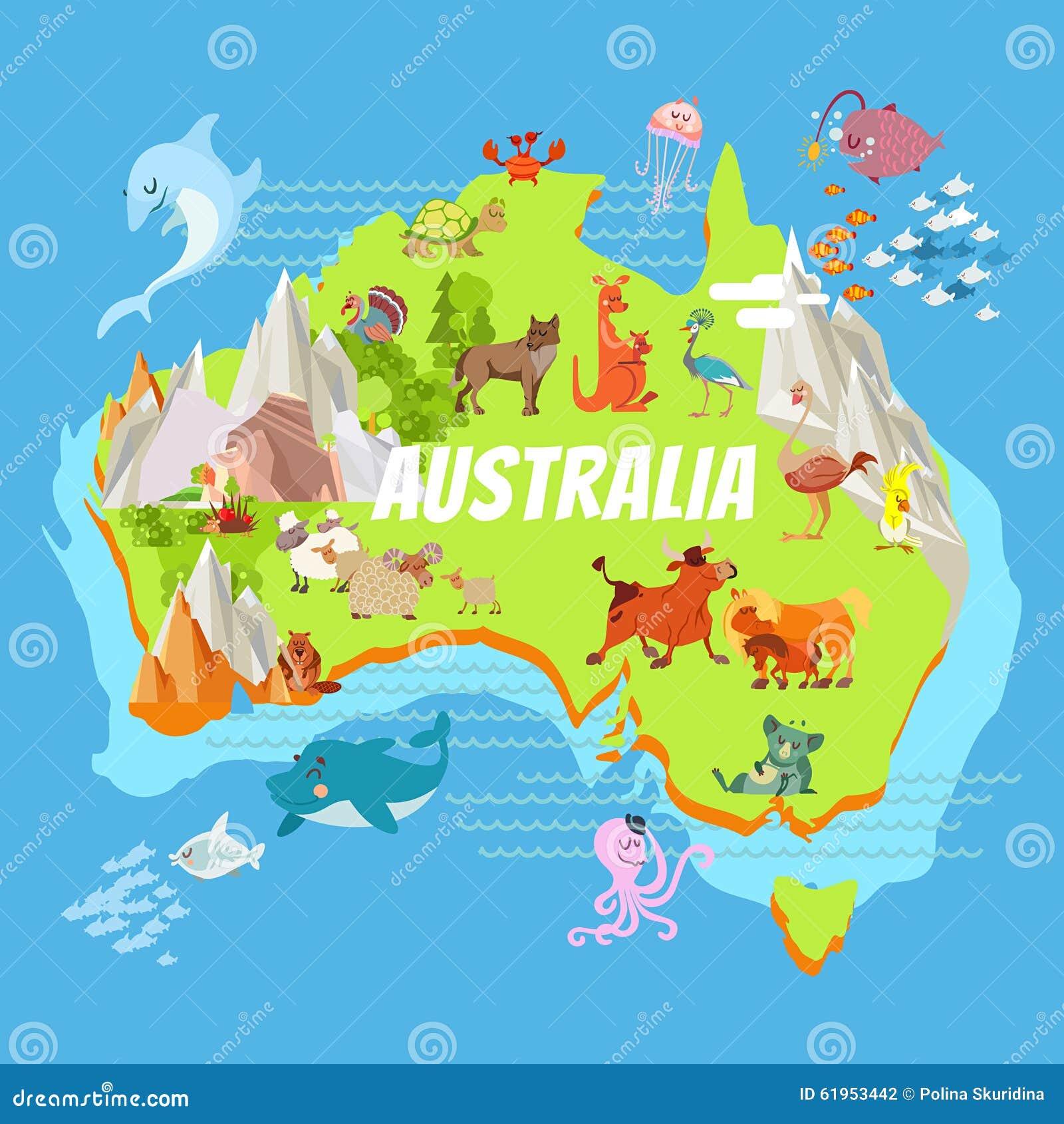Map Of Australian Landscapes.Cartoon Australia Map With Animals Stock Vector Illustration Of