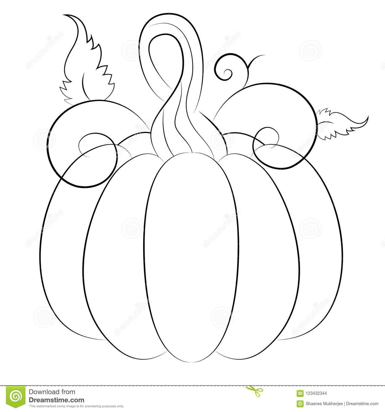 Cartoon Autumn Pumpkin Coloring Page Stock Vector Illustration Of