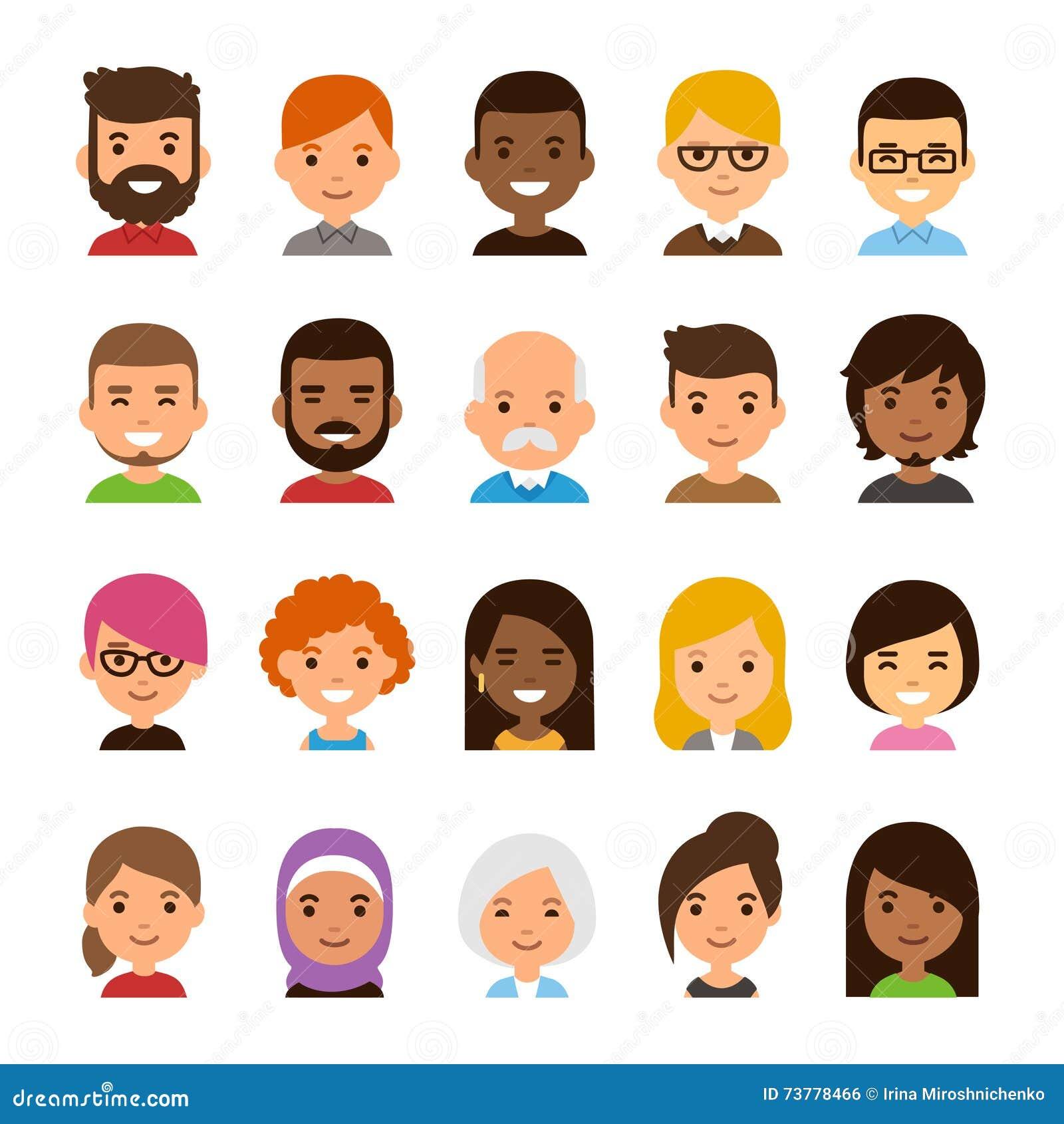 cartoon avatar set stock vector illustration of color 73778466
